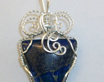 Lapis with Golden Pyrite wire sculpted pendant