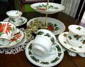 4 MATCHING Christmas Cups and Saucers Lot - Tea Party or Christmas Tea - Bulk Teacups  - 2 Tiered Tidbit Tray 9345