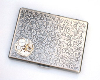 Steampunk - Watch Movement Cigarette Case Nautical - Slim Wallet - Large Card Case - Antique Silver By GlazedBlackCherry