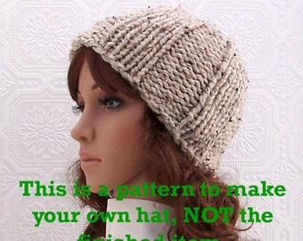 Instant download knitting hat pattern - Simple Beanie - Winter Accessories by Sandy Coastal Designs - PDF pattern