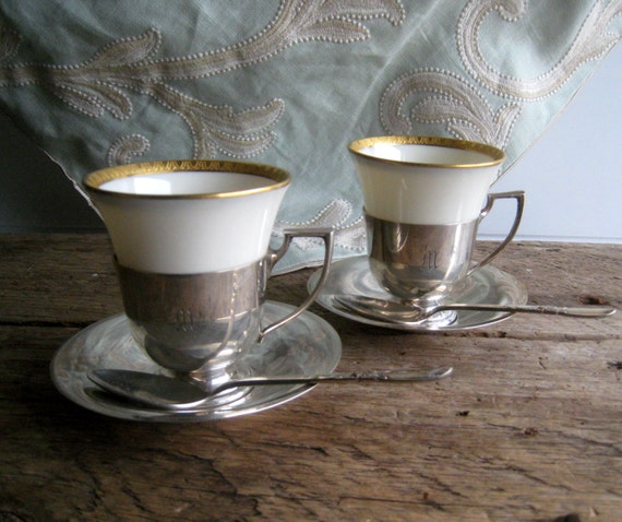 Art Deco Sterling Silver and Porcelain 1930's Pair of Coffee Cups