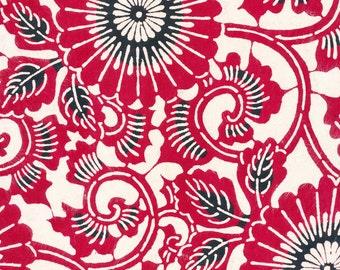 Japanese Katazome Paper - Burgundy Spiral Flowers