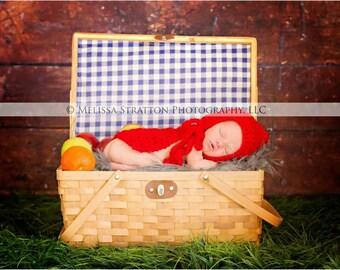 Newborn baby little red riding hood    cape/bonnet  crochet Newborn photo props photography girl