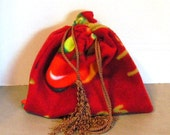 Red Apple Print Fleece Drawstring Pouch Bag