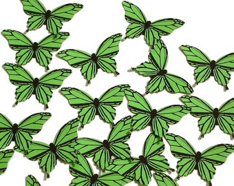 20 Green Butterfly scrapbook embellishments - No601