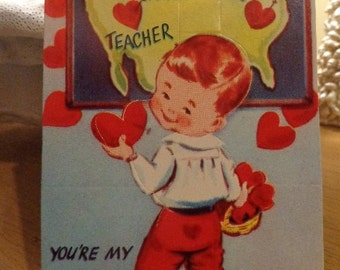 Pristine UNUSED Mid Century Die Cut Valentine, You're My Favorite Pin Up, For Teacher LOL, MORE in shop