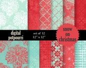 buy2get1 damask digital scrapbooking paper pack - snow on christmas shabby chic - 12 damask papers