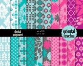 buy2get1 buy2get1digital scrapbooking paper pack - oriental fuschia  20 digital paper