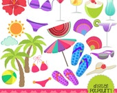 buy2get1 buy2get1beach clipart set - tropical paradise