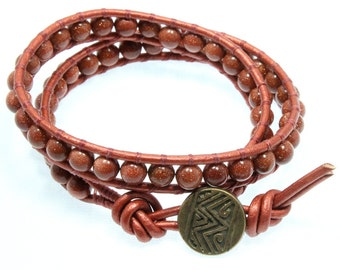 Goldstone Leather Wrap Bracelet, Copper, Double Wrap Bracelet