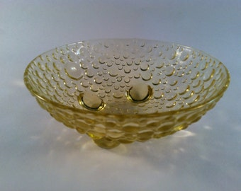 Vintage yellow bubble glass delicate bowl with  tiny feet