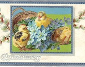 Raphael Tuck Easter Offerings Series No 77 - Tuck's Easter Happiness Antique Postcard