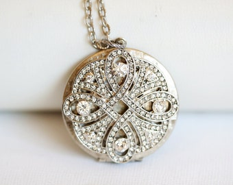 Locket, Jewelry Gift,Silver Locket, Locket,Rhinestone Pearl Locket,vintage style locket,Wedding Necklace,bridesmaid necklace