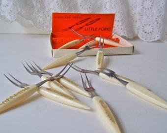 Vintage Cocktail Forks Stainless Steel Forks Entertainment Party Forks 1950s Cocktail Forks
