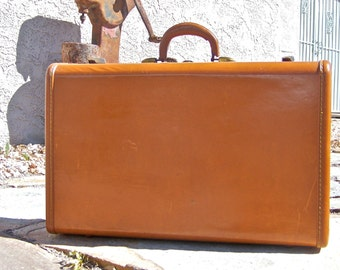 Vintage Samsonite Luggage Caramel Faux Leather Overnight Case 1950s Suitcase Plaid Interior
