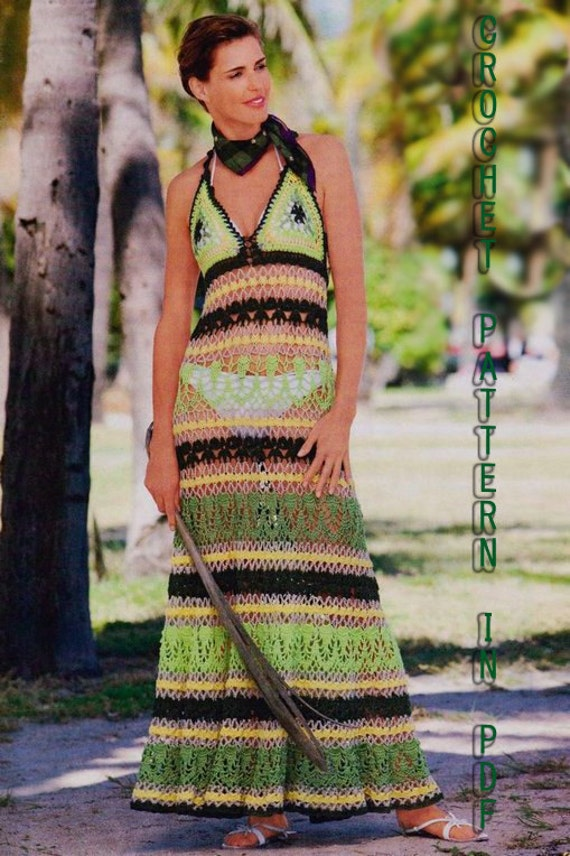 Summer Dress Crochet Pattern with Diagrams and Written Instruction Only  in PDF files