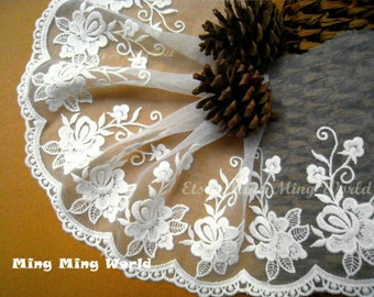 Embroidered Lace Trim - 2 Yards White Flower Lace Trim(L343)