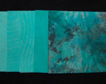 5 x 5 Inch Precut Quilt Squares, AQUA GREEN BLUE, Hand Dyed, 40 Squares Total
