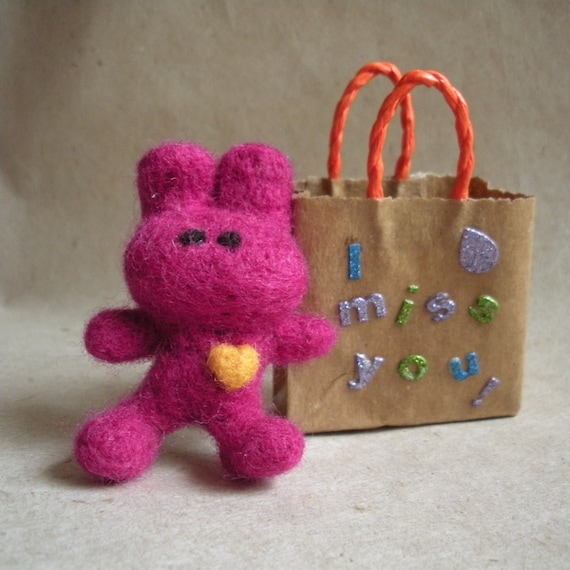 A gift for someone special, wool felted miniature rabbit with heart....and I miss you gift bag