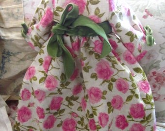 BEST Vintage C1965 Pink Rose Handmade Doll Dress Green Velvet Bows