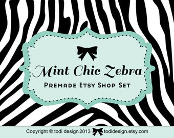 Mint Chic Zebra - Premade shop set & business card design