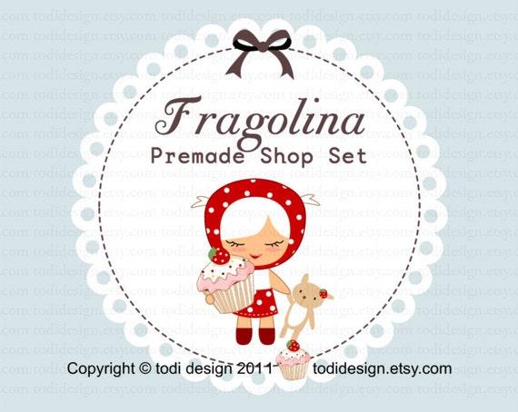 Fragolina Design - Premade Etsy shop banner - Chic Boutique Design -  illustration girl - Boutique - accessories