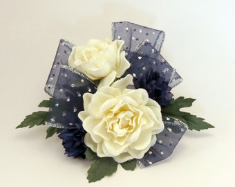 Corsage with Sparkly Blue Ribbon