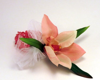 Pink Orchid Corsage on Beaded Wristlet