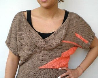 Domino OOAK  Sweater Trendy Taupe and Coral Cotton Hand Knit Woman Sweater SPRING COLLECTION