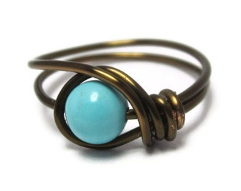 Gemstone Jewelry -  Turquoise Ring -  Custom Size Wire Wrapped Jewelry - Boho Chic Rings