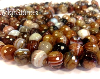 6 , 8 , 10 , 12 mm Miracle Agate Faceted Round Beads - Full Strand - Earth Tones Brown Agate (G3533W16283034-BHM1S12)