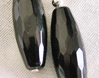 Black Onyx faceted long tube Earrings Sterling Silver semiprecious gemstone PROTECTION GROUNDING