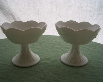 Vintage Milk Glass Candle Holder Pair, Indiana Glass Paneled Grape, 2 Pieces, Last Call, Final Markdown