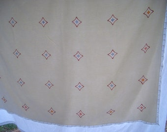 Vintage Tablecloth, Eggshell Damask with Embroidery and Crochet Edge, Last Call, Final Markdown