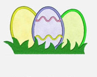 Easter Eggs in Grass...Embroidery Applique Design...Three sizes for multiple hoops...item1203...INSTANT DOWNLOAD