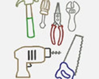 Tools...6  Embroidery Applique Designs...Two sizes for multiple hoops...Item1113...INSTANT DOWNLOAD