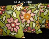 Decorative Outdoor Throw Pillow Cover Green Floral - Set of Three18 Inch