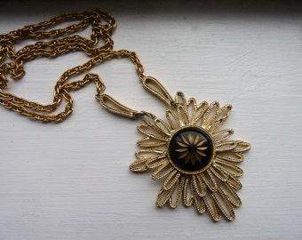 Vintage Gold Crown Inc. Necklace-Sunburst Necklace Pendant