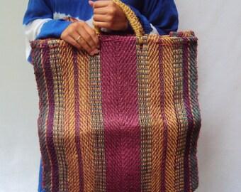 vintage woven STRAW bag market bag beach HUGE Purse Tote Gypsy