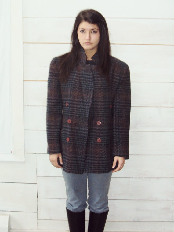 vintage Wool Blazer Jacket M Plaid Mohair Wool Sm Med Christian Dior Paris New York
