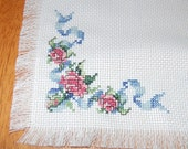 Roses and Ribbons Cross Stitch Mat/ Table Topper