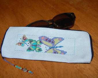 Butterflies Cross Stitch Soft Eye Glass Case