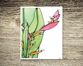 Green and Pink Modern Hawaiian Watercolor and Ink Bouquet Art Print