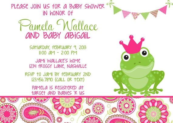 Frog pink green paisley baby shower invitation girl printable by il570xn filmwisefo