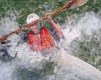 Kayaker Painting Original Vintage