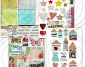 Instant Download - NEW 2013-0014 - Art Journaling Kit 4 Digital Collage Sheets Altered Art Paper Dolls Dresses Wings Hearts Art Doll