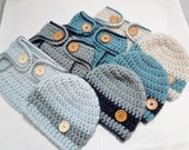 Newborn diaper cover and Beanie set. READY TO SHIP in your choice of 4 colors. Great baby shower gift or photo prop.