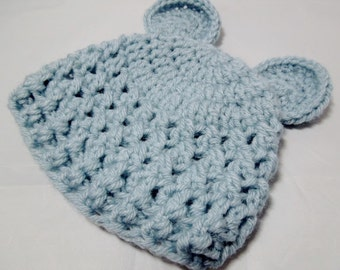 baby bear hat, crochet hat, baby prop, choice of colors, 0-3,3-6 months.