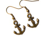 Anchors . Earrings . Antiqued Brass