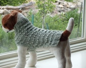 Dog Sweater Hand Knit Lace Small 12 inches long OCTOBER SALE